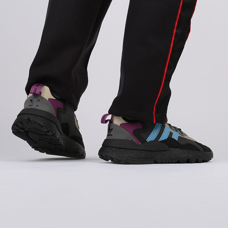 мужские чёрные, бежевые  кроссовки adidas nite jogger winterized FZ3665 - цена, описание, фото 7