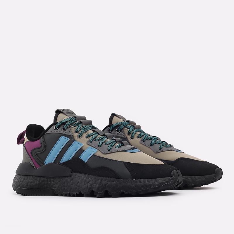 мужские чёрные, бежевые  кроссовки adidas nite jogger winterized FZ3665 - цена, описание, фото 2