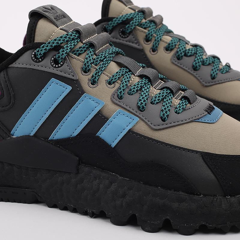 мужские чёрные, бежевые  кроссовки adidas nite jogger winterized FZ3665 - цена, описание, фото 5