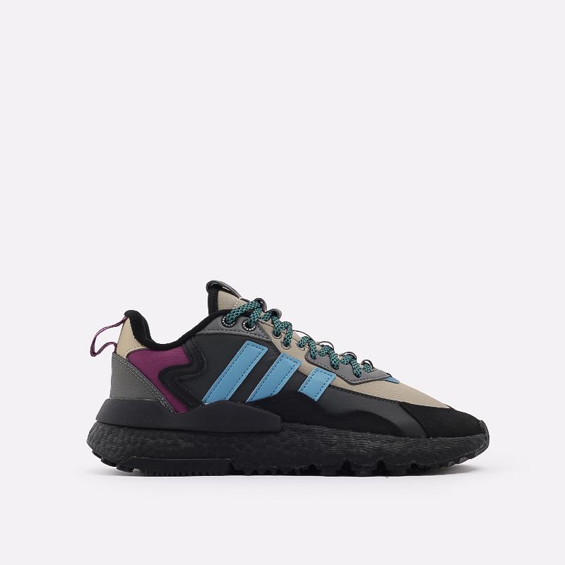 мужские чёрные, бежевые  кроссовки adidas nite jogger winterized FZ3665 - цена, описание, фото 1