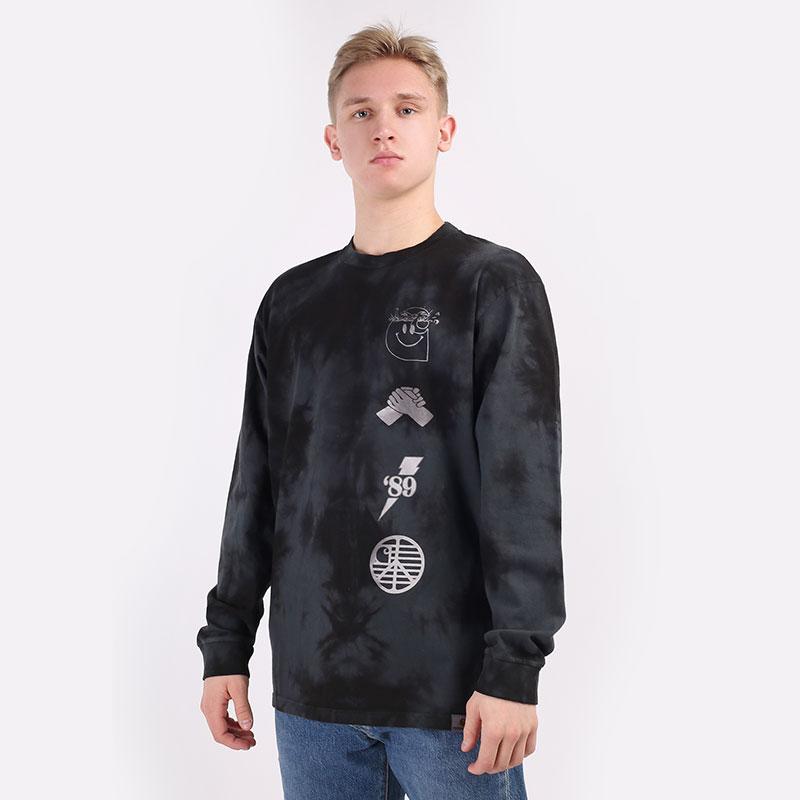 мужской серый  лонгслив carhartt wip l/s tab t-shirt I028933-chr/blk/wht - цена, описание, фото 1