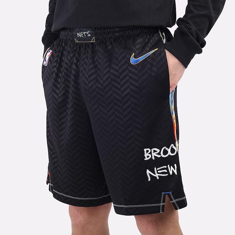 мужские черные  шорты  nike brooklyn nets city edition 2020 nba swingman short CN1964-010 - цена, описание, фото 1