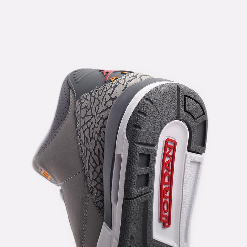 женские серые  кроссовки jordan 3 retro (gs) 398614-012 - цена, описание, фото 8