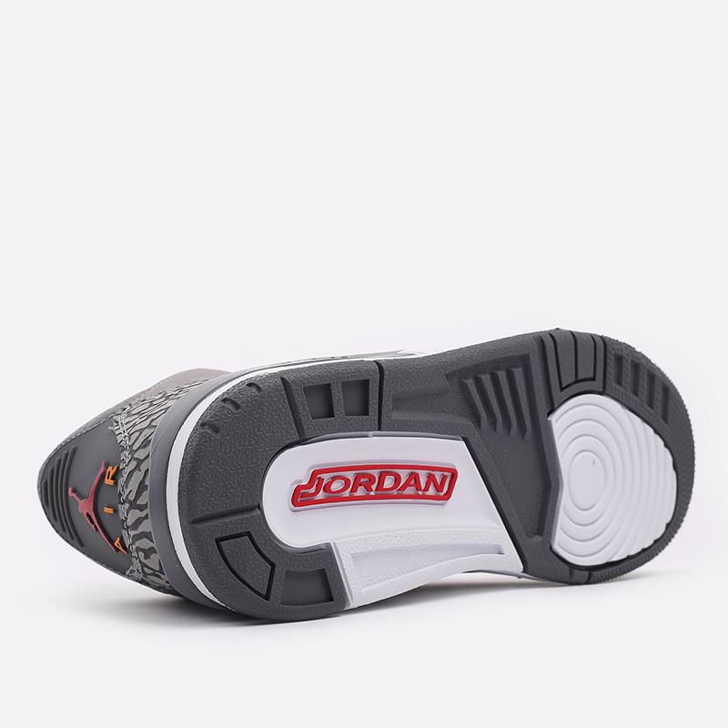 женские серые  кроссовки jordan 3 retro (gs) 398614-012 - цена, описание, фото 4