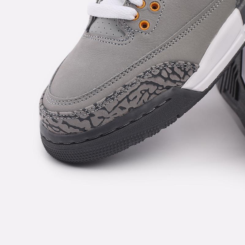 женские серые  кроссовки jordan 3 retro (gs) 398614-012 - цена, описание, фото 6