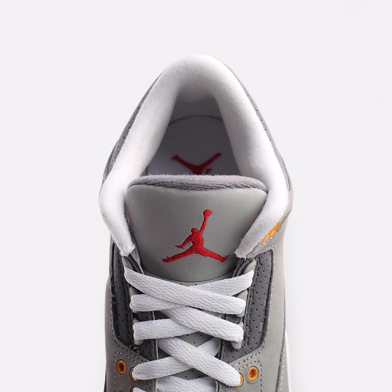 женские серые  кроссовки jordan 3 retro (gs) 398614-012 - цена, описание, фото 7