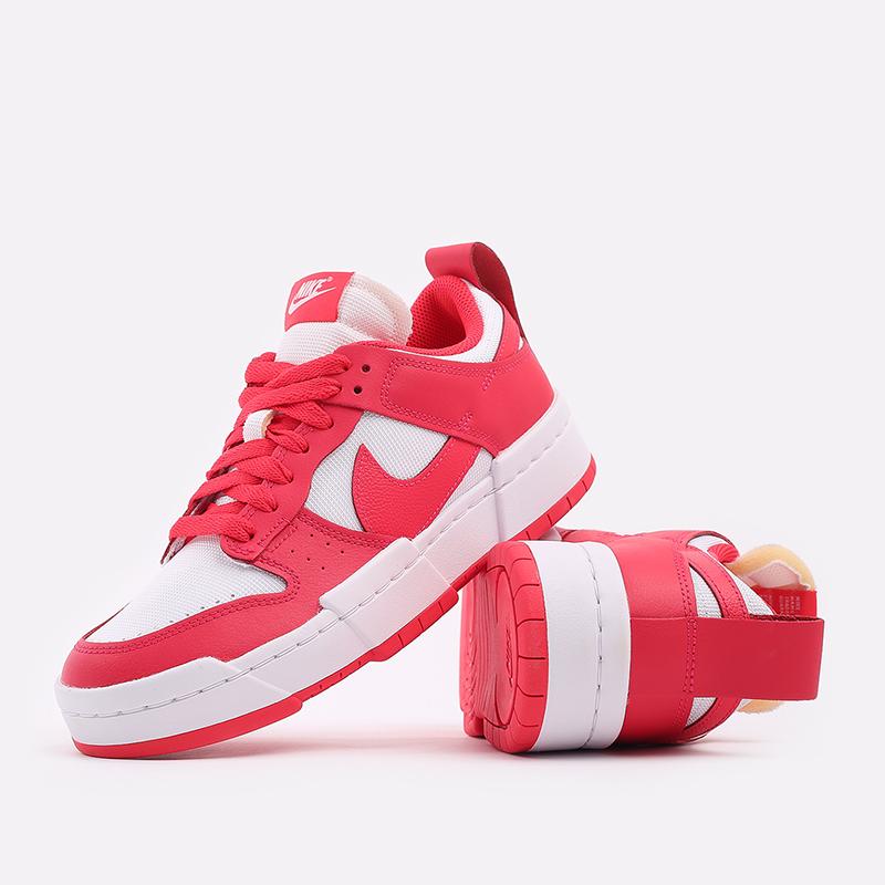 женские красные, белые  кроссовки nike wmns dunk low disrupt CK6654-601 - цена, описание, фото 5