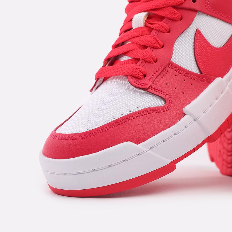 женские красные, белые  кроссовки nike wmns dunk low disrupt CK6654-601 - цена, описание, фото 6