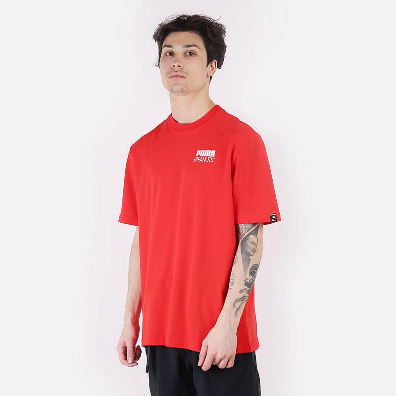 мужскую красную  футболка puma x peanuts tee 53061611 - цена, описание, фото 1
