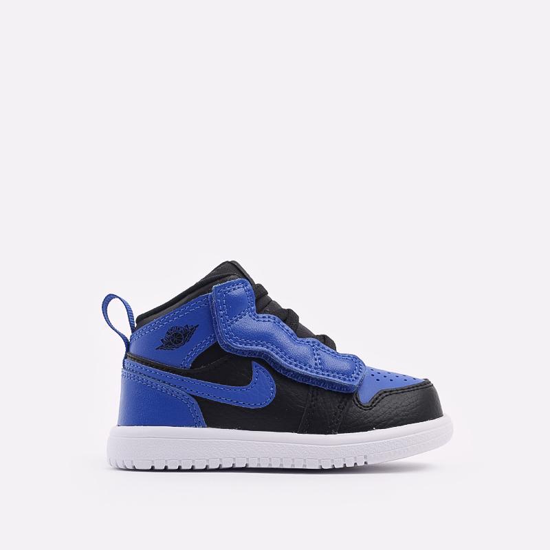 детские синие, чёрные  кроссовки jordan 1 mid alt (td) AR6352-077 - цена, описание, фото 1