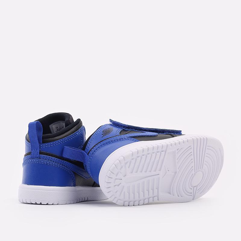 детские синие, чёрные  кроссовки jordan 1 mid alt (td) AR6352-077 - цена, описание, фото 3