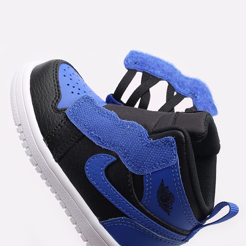 детские синие, чёрные  кроссовки jordan 1 mid alt (td) AR6352-077 - цена, описание, фото 5