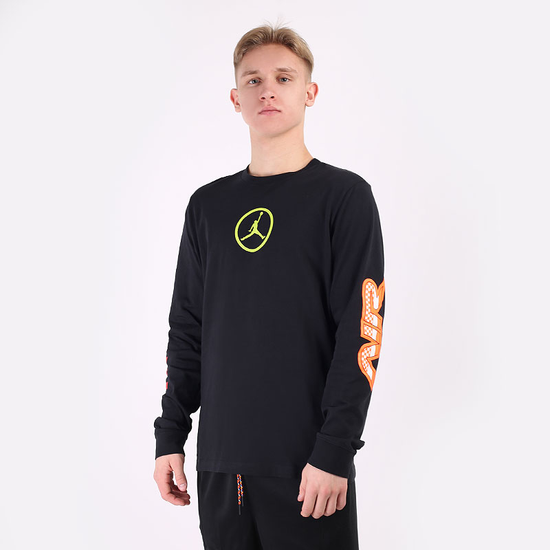 мужской черный  лонгслив jordan sport dna long-sleeve t-shirt CV3000-010 - цена, описание, фото 1