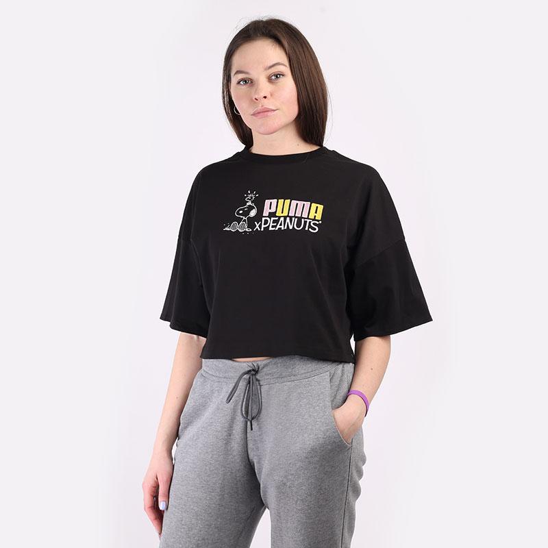 женскую черную  футболка puma x peanuts tee 53115801 - цена, описание, фото 1