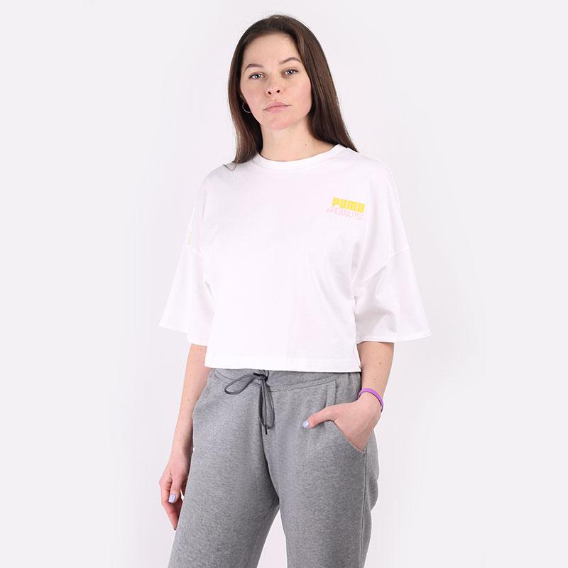 женскую белую  футболка puma x peanuts tee 53115802 - цена, описание, фото 1
