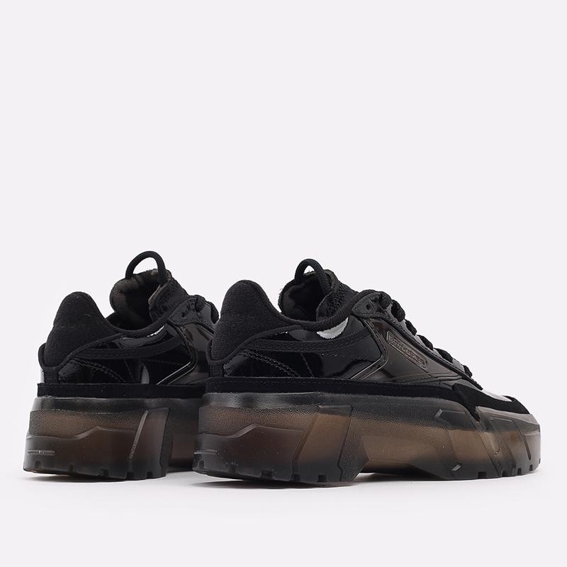 женские чёрные  кроссовки reebok club c x cardi b H01009 - цена, описание, фото 3
