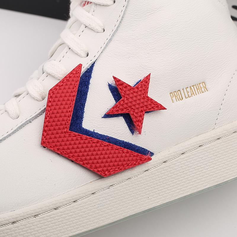 мужские белые  кеды converse pro leather hi 170240 - цена, описание, фото 8