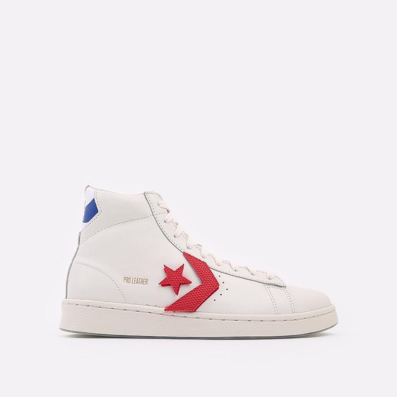 мужские белые  кеды converse pro leather hi 170240 - цена, описание, фото 1