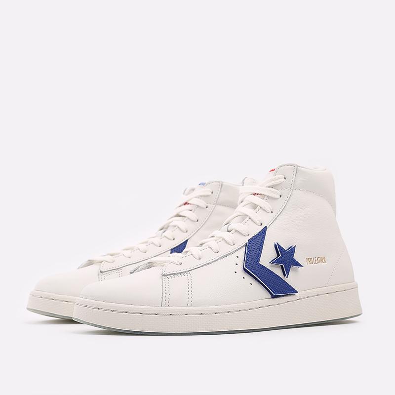 мужские белые  кеды converse pro leather hi 170240 - цена, описание, фото 4