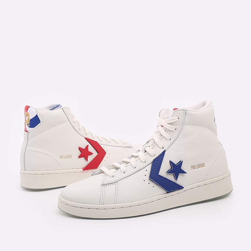 мужские белые  кеды converse pro leather hi 170240 - цена, описание, фото 2