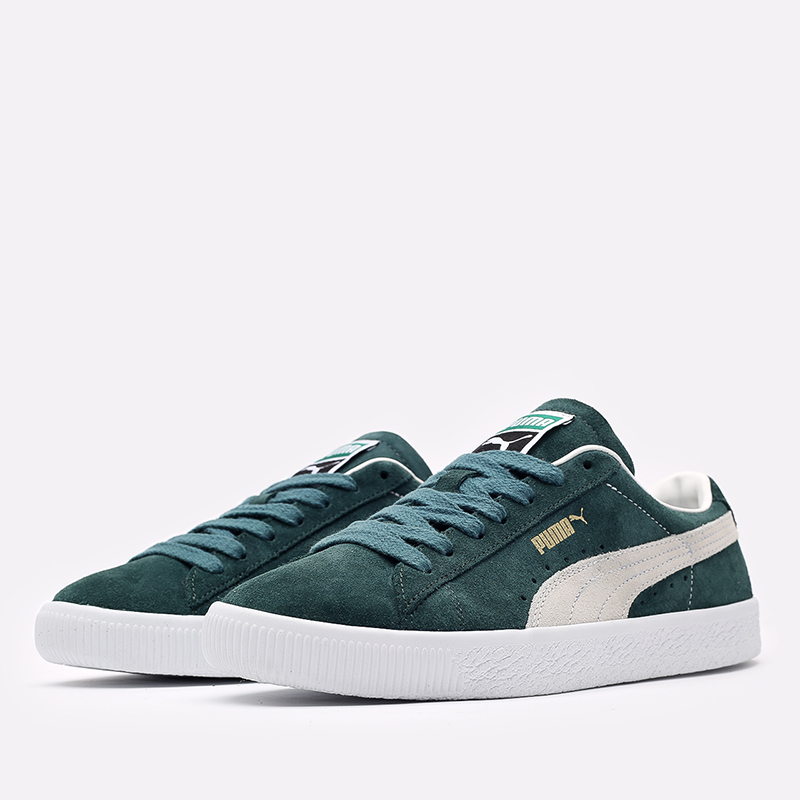 мужские зелёные  кроссовки puma suede vtg 37492102 - цена, описание, фото 2