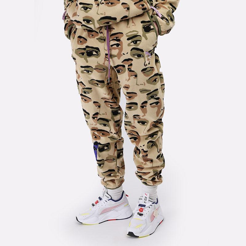 мужские бежевые  брюки puma x ks aop fleece pants 53040396 - цена, описание, фото 1