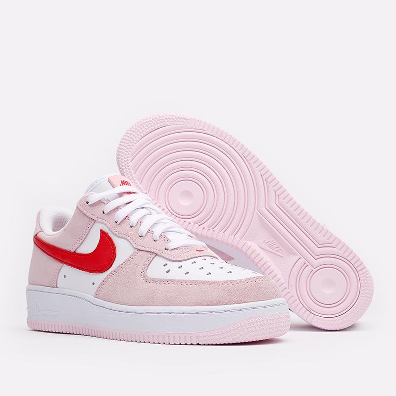 мужские белые, красные, розовые  кроссовки nike air force 1 '07 qs DD3384-600 - цена, описание, фото 3