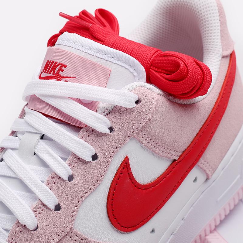 мужские белые, красные, розовые  кроссовки nike air force 1 '07 qs DD3384-600 - цена, описание, фото 7