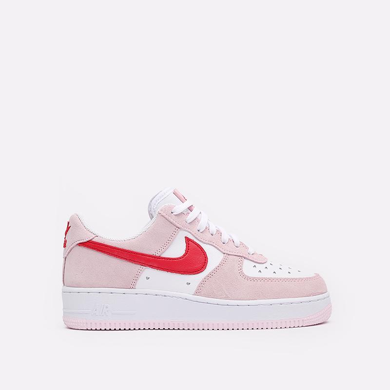 мужские белые, красные, розовые  кроссовки nike air force 1 '07 qs DD3384-600 - цена, описание, фото 1