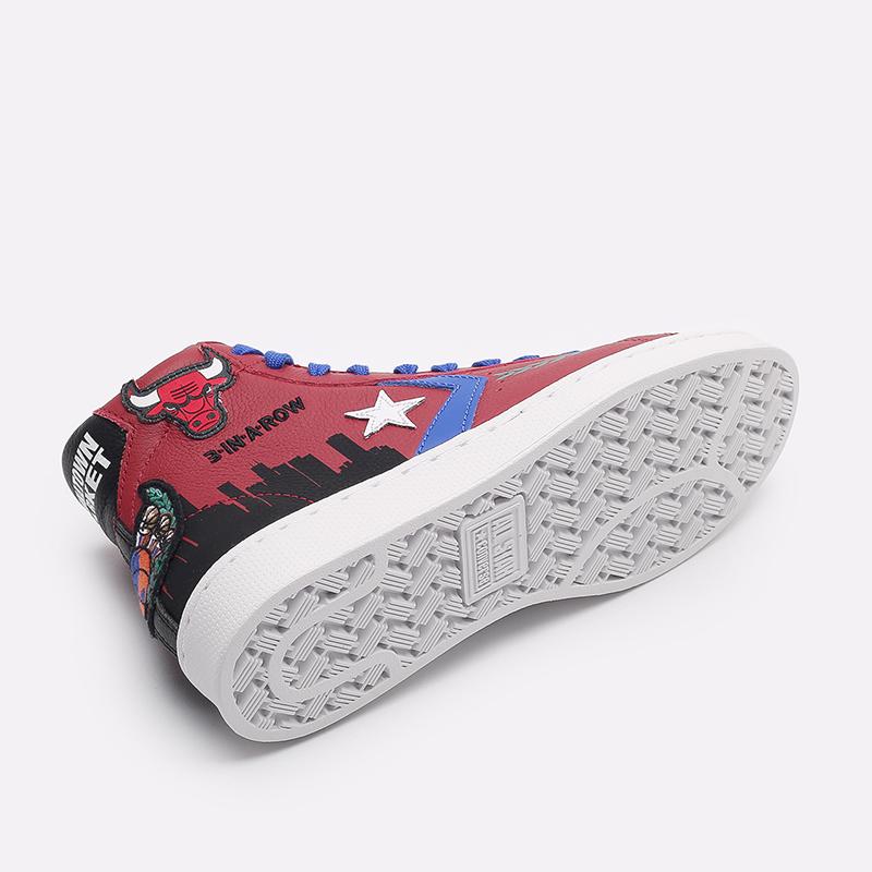 бордовые  кеды converse pro leather hi x chinatown market x nba 171241 - цена, описание, фото 4