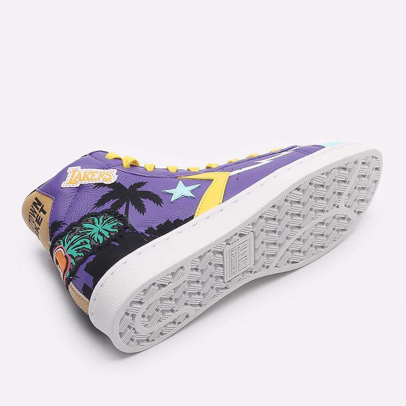 фиолетовые  кеды converse pro leather hi x chinatown market x nba 171240 - цена, описание, фото 4