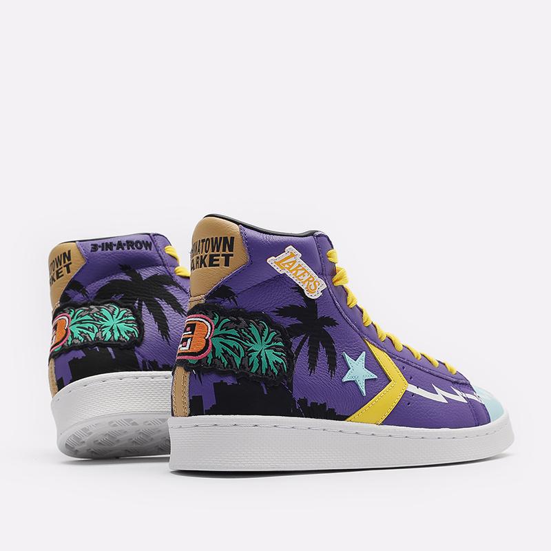 фиолетовые  кеды converse pro leather hi x chinatown market x nba 171240 - цена, описание, фото 3