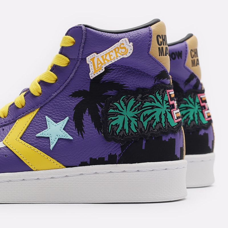 фиолетовые  кеды converse pro leather hi x chinatown market x nba 171240 - цена, описание, фото 5