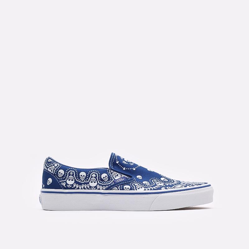 мужские синие  кроссовки vans bandana classic slip-on VA33TB42UM - цена, описание, фото 1