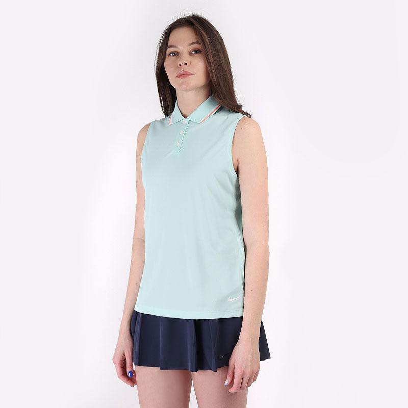 женскую голубую  безрукавку nike dri-fit victory women's sleeveless golf polo BV0223-382 - цена, описание, фото 1