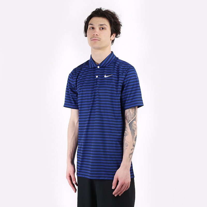 мужской синий  поло nike essential stripe polo CU9858-455 - цена, описание, фото 1