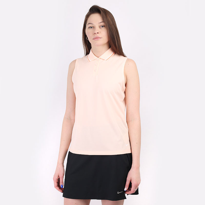 женскую оранжевую  безрукавку nike dri-fit victory women's sleeveless golf polo BV0223-815 - цена, описание, фото 1