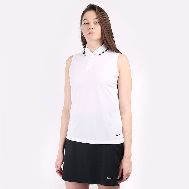 женскую белую  безрукавку nike dri-fit victory women's sleeveless golf polo BV0223-100 - цена, описание, фото 1