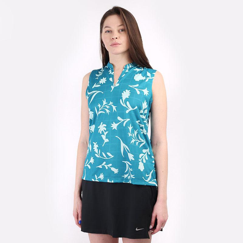 женскую синюю  безрукавку nike breathe women's sleeveless printed golf polo CU9383-467 - цена, описание, фото 1