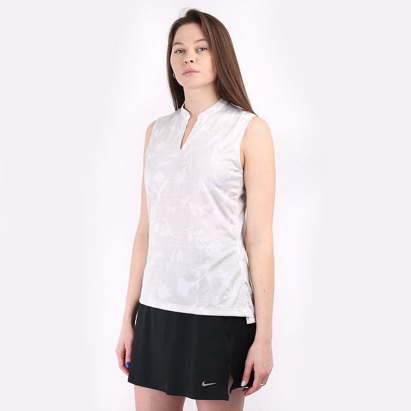 женскую серую  безрукавку nike breathe women's sleeveless printed golf polo CU9383-025 - цена, описание, фото 1