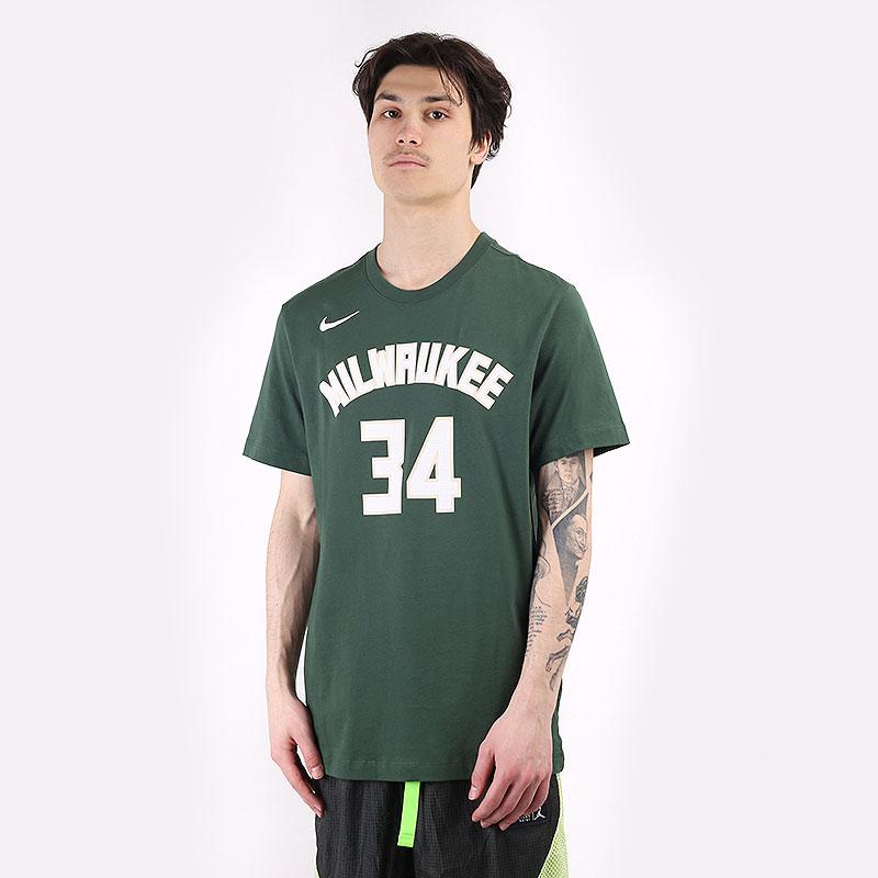 мужскую зеленую  футболка nike nba giannis antetokounmpo bucks tee CV8534-326 - цена, описание, фото 1