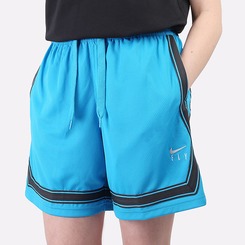 женские голубые  шорты  nike dri-fit swoosh fly women's basketball shorts CK6599-446 - цена, описание, фото 1