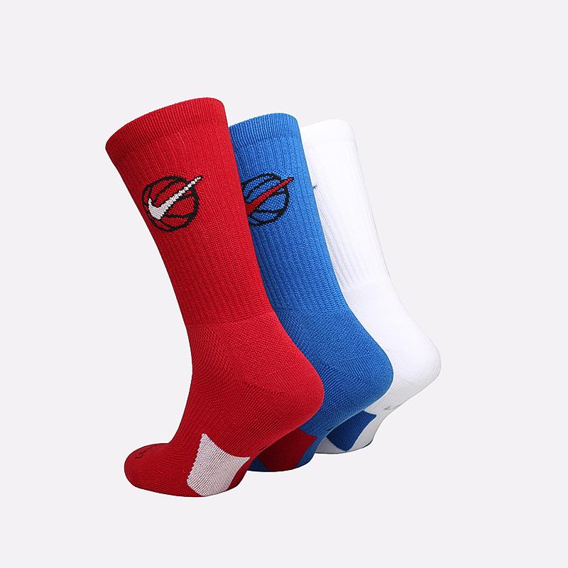 мужские белые, красные, синие  носки nike elite everyday crew x3 DA2123-901 - цена, описание, фото 2