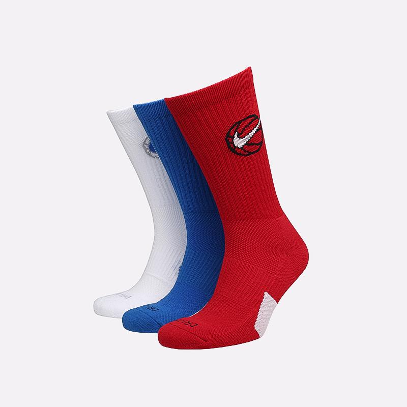 мужские белые, красные, синие  носки nike elite everyday crew x3 DA2123-901 - цена, описание, фото 1