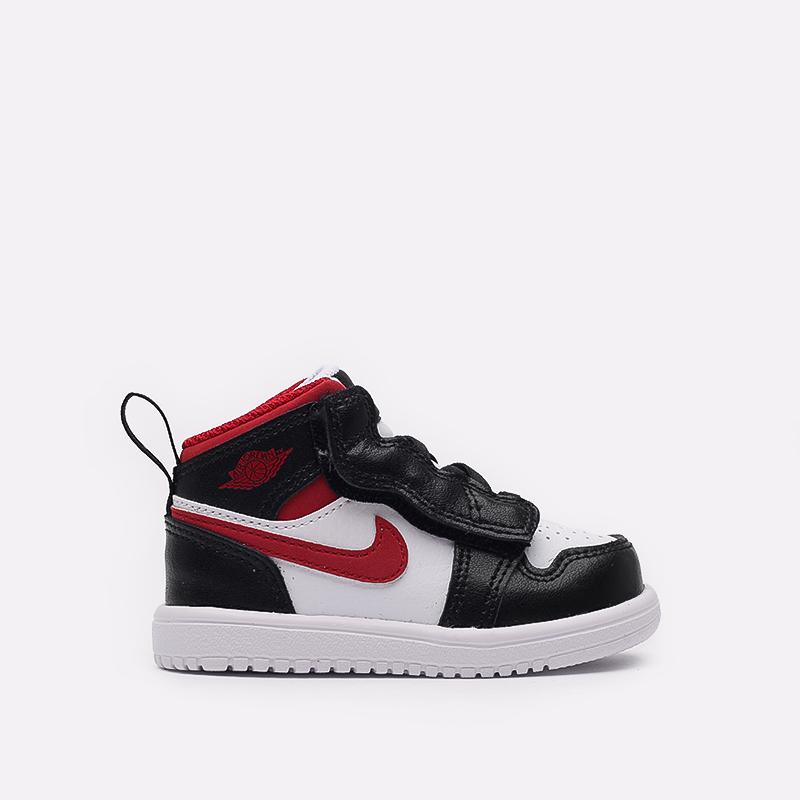 детские чёрные, красные, белые  кроссовки jordan 1 mid alt (td) AR6352-122 - цена, описание, фото 1