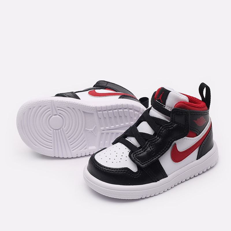 детские чёрные, красные, белые  кроссовки jordan 1 mid alt (td) AR6352-122 - цена, описание, фото 4