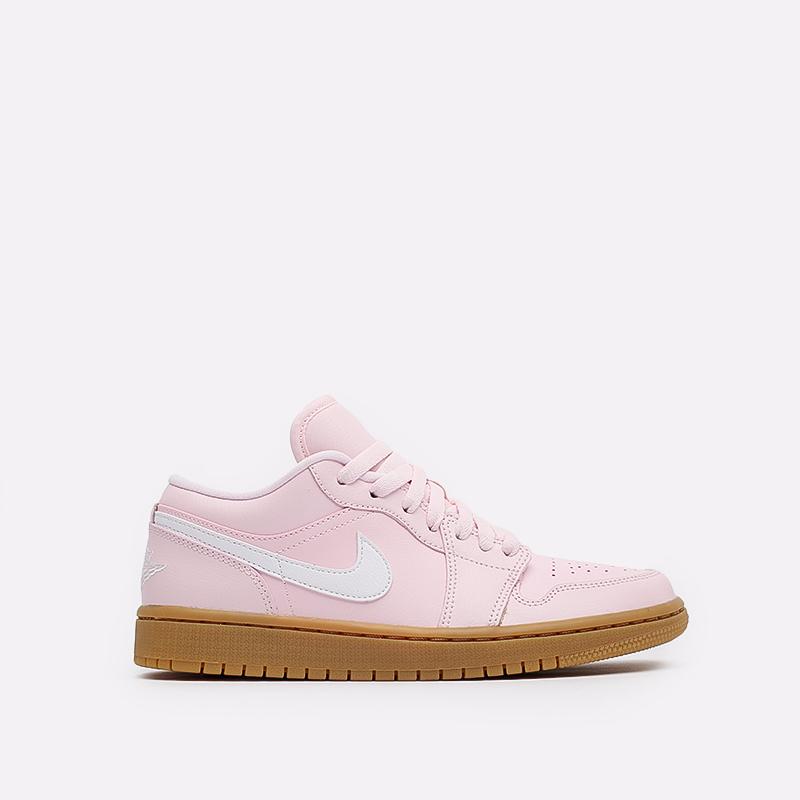 женские розовые  кроссовки jordan wmns 1 low DC0774-601 - цена, описание, фото 1