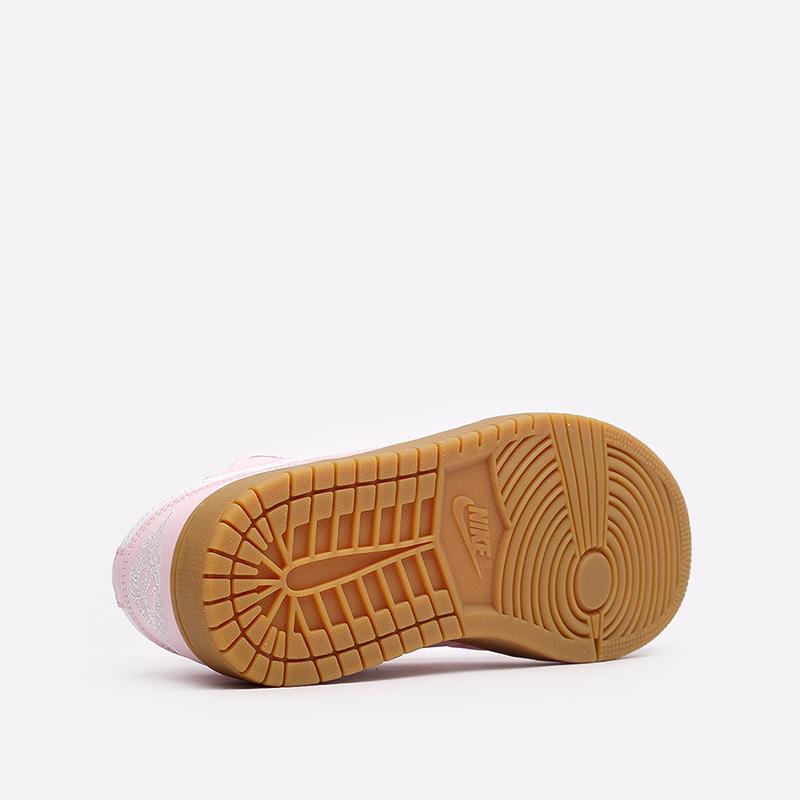 женские розовые  кроссовки jordan wmns 1 low DC0774-601 - цена, описание, фото 5