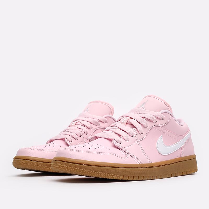 женские розовые  кроссовки jordan wmns 1 low DC0774-601 - цена, описание, фото 2