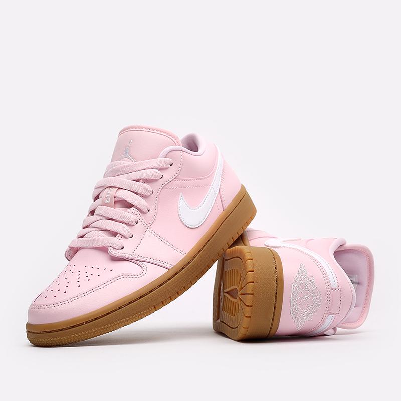 женские розовые  кроссовки jordan wmns 1 low DC0774-601 - цена, описание, фото 3
